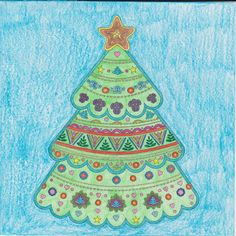 Season's Greetings to All!  This is from Vive Le Color! Christmas. I love the Vive Le Color! Coloring Books. I have three now.  This tree was a pleasure to do except for the design in fourth small section of the top section of the tree. The design reminds me of chickens getting ready to roast a