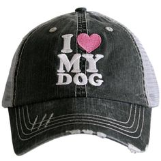 I Love My Dog distressed trucker cap with embroidery b5fc51ea962f