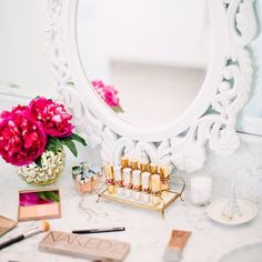 Keep pretty lipsticks lined up on a decorative display tray