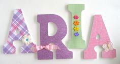 Pink Green & Purple Custom Wooden Letters by LetterLuxe on Etsy, $25.00