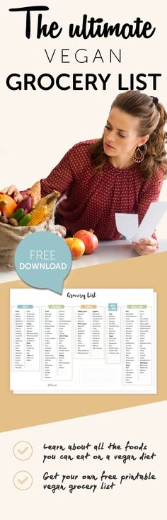 Find out what to eat on a #vegan diet - including healthy whole foods as well as processed convenience foods. Bonus: free downloadable grocery shopping list!