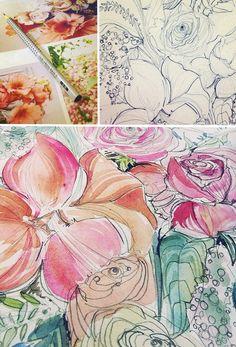 A Peek into the Studio – Peach Wedding Bouquet Watercolor Invitations