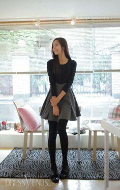 Premier Grey Black Split Joint Long Sleeves Korean Princess New Arrival Slim Dress