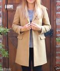 Topshop Camel Slim Boyfriend Pocket Detail Popper Jacket Coat - Size 6