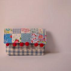 red pom-pom, patchwork & lace pouch