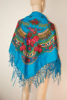 """vintage BOHO Russian FOLK rose floral PURE WOOL scarf 48"""" square #Unbranded #Scarf"""