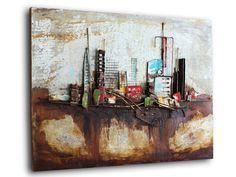 modern industrial wall art   ... wall hanging   industrial landscape abstract metal art   modern metal