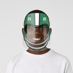 Football Helmet Green White Numbered Kids' Face Shield - tap/click to get yours right now! #KidsFaceShield  #football #american #sport #boys #girls White Ink, Blue And White, Clear Face, Plastic Animals, Health And Safety, Mild Soap, Perfect Match, Football Helmets, Cool Designs