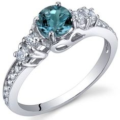 Enchanting 0.50 Carats London Blue Topaz Ring in Sterling Silver Rhodium Finish Size 5 to 9: Jewelry: Amazon.com