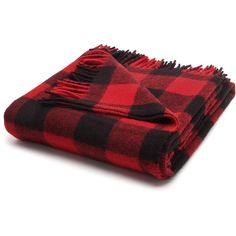 Faribault Woolen Mills Buffalo Check Throw ($110) ❤ liked on Polyvore featuring home, bed & bath, bedding, blankets, buffalo check blanket, buffalo plaid bedding, woven blankets, fringed throws and fringe blanket