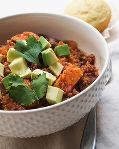 Sweet Potato & Quinoa Chili: SOOOO delicious! Makes a big batch, and the leftovers are fantastic. Would probably freeze well.
