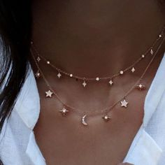 Minimal Celestial Star and Moon Necklace