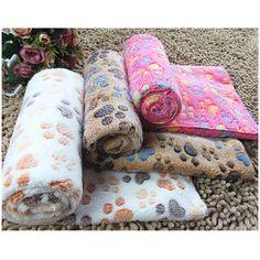 New Warm Pet Mat Small Large Paw Print Cat Dog Puppy Fleece Soft Blanket Cushion Cheap Dog Beds, Puppy Beds, Pet Puppy, Pet Kennels, Dog Quilts, Dog Fleece, Orthopedic Dog Bed, Thermal Blanket, Cat Dog