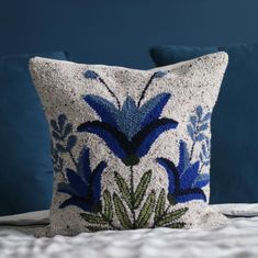 punch needle pillow inspired by traditional Mexican embroidery || by @melissalowrydesign