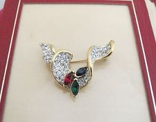 Attwood and sawyer brooch vintage signed A&S gold tone multi colour paste stones