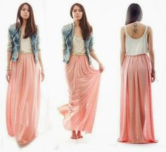 lovely pink  maxi skirt with a jean vest