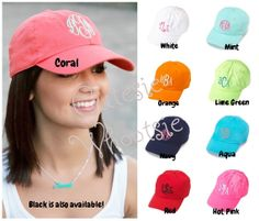 Women's Adult Monogrammed Cap Monogrammed by CutesieWhootsie, $13.95 in coral with white writing or white hat with pink writing!