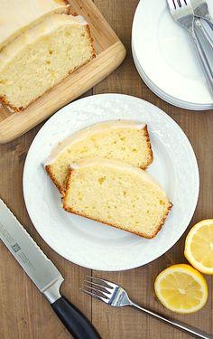 Glazed Lemon Pound Cake...tart, buttery, lemony rich pound cake is balanced perfectly by the sweet, bright lemon glaze,p