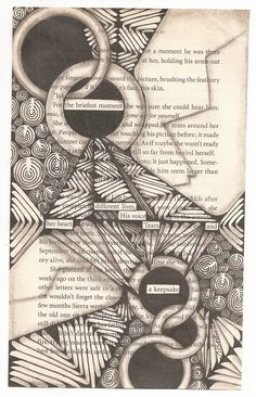 """Keepsake   5"""" x 7"""" (approx) Book page, Micron pen and graphite shading."""