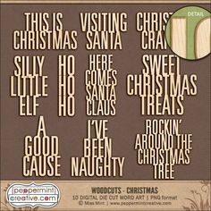 Woodcuts - Christmas from Peppermint Creative #wordart #projectlife #christmas