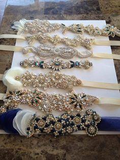 Swarovski Crystal & Pearl Wedding Dress Belt - One of a Kind Hand Stitched Wedding Belts, Bling Wedding, Wedding Jewelry, Wedding Hair, Wedding Dresses, Crystal Embroidery, Bead Embroidery Jewelry, Beaded Jewelry, Bridal Sash