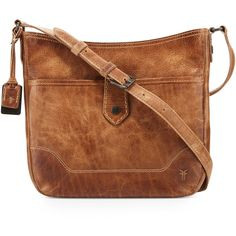 Frye Melissa Button Crossbody Bag (485 CAD) ❤ liked on Polyvore featuring bags, handbags, shoulder bags, beige, brown leather purse, hobo crossbody, leather crossbody purse, brown crossbody purse and brown leather crossbody