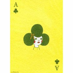 Naoshi Ace Of Clubs Print: An ace surreal and quirky print of an original Japanese 'sunae' or sand painting. Inspired by the 'Ace of Clubs' playing cards.