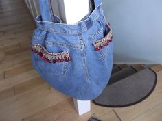 Handmade upcycled large denim bag shopping beach craft by meebo1 on Etsy