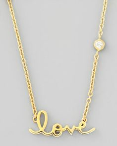 Love Pendant Bezel Diamond Necklace by SHY by Sydney Evan at Neiman Marcus. 14-kt yellow gold plated sterling silver   $125