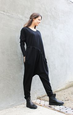 Black Maxi Jumpsuit/Long Sleeves Loose Jumpsuit/Plus Size Jumper/ Extravagant Jumper/Romper/ Drop Crotch Harem Pants J0007