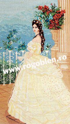 Cod produs: Sissi Culori: 32 Dimensiune: 20 x 35 cm Sissi, Cod, Snow White, Disney Princess, Disney Characters, Cross Stitch, Embroidery, Cod Fish, Snow White Pictures