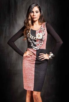Fehu Black Jewel Print Dress