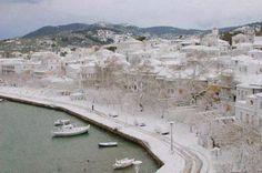 All Greece dressed in white ! ~ Skopelos island today ~ Picture by Costas Andreou Skopelos Greece, Skiathos, Today Pictures, Greece Islands, Athens Greece, Greece Travel, Beautiful Islands, Mykonos, Istanbul