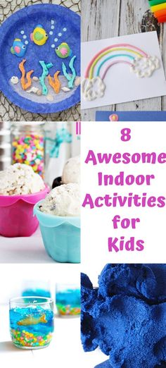 8 Awesome Indoor Activities for Kids that will keep them busy when its hot outside. From paper plate crafts to jello fish bowls - they will get their creative juices flowing with these summer activities. Indoor Activities For Kids, Family Activities, Craft Activities, Creative Activities, Toddler Activities, Summer Crafts For Kids, Diy For Kids, Kids Fun, Kids Crafts