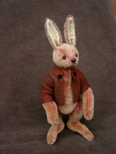 "Proudfoot 7"" OOAK hand sewn mohair Rabbit with glass eyes"
