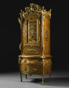A DANISH GILT-BRONZE MOUNTED CARVED GILTWOOD, TORTOISESHELL, BRASS, PEWTER, BONE AND FRUITWOOD INLAID MARQUETRY WALNUT BUREAU CABINET,  ATTRIBUTED TO DIETRICH SCHAEFFER,  CIRCA 1750.