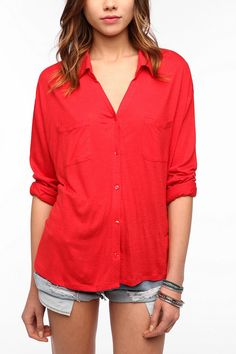 Staring at Stars Button-Down Knit Shirt  #UrbanOutfitters Want this shirt!