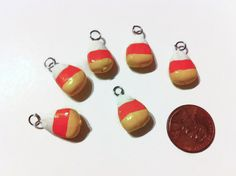 Candy Corn Charms Halloween Charms Polymer Clay by bowsngifts, $5.25