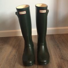 Hunter Rain Boots Dark olive color Hunter boots. Size US 7f. Bought on Posh and in excellent condition. They unfortunately are just too big on me. Hunter runs a bit large. I'm usually about a 7.5. These fit but I'd be more comfortable sizing down. Hate to let them go! Hunter Boots Shoes Winter & Rain Boots