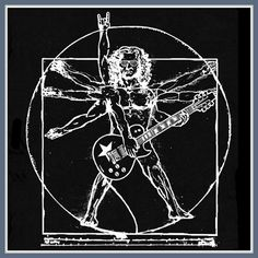 Da Vinci Man T Shirt Guitar Rock Star T Shirt by Shirtmandude, $12.00
