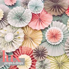 """6ft x 6ft Photography Fabric Backdrop Shabby Pink Pastel Pinwheels Rosettes """"Paper Blooms"""" Newborn on Etsy, $90.00"""