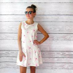 courte robe pastelle en libellules roses superbe en coton
