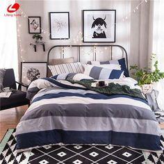Modern stripe bedding set 100% cotton summer navy duvet cover #ModernBedSheets