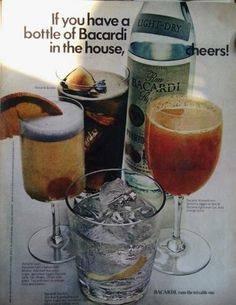 Bacardi Rum, Life magazine November 17 1972.  Pictured (clockwise, from center): Bacardi & cola, Bacardi Screwdriver (jigger of Bacardi over ice, add orange juice), Bacardi Martini (4 or 5 parts Bacardi light, 1 part dry Vermouth, ice.  Add olive or lemon twist), Bacardi Sour (Juice of 1/2 lemon, 1/2 tsp sugar, full jigger Bacardi dark shaken with ice.  Strain into glass, top with half orange slice and cherry)