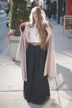 Tulle maxi skirt with lace + vintage camel coat for fall/winter style