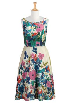 Floral Print Voile Dress from eShakti.  It's so pretty I can hardly look at it.  (Note to self: elbow-length sleeve, knee-length, split scoop neckline.  Yes please.)