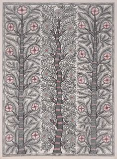 Madhubani painting, 'Spring Bliss' - Signed Madhubani Painting of Three Trees from India Madhubani Paintings Peacock, Kalamkari Painting, Madhubani Art, Indian Art Paintings, Plant Painting, Plant Art, Ink In Water, Indian Folk Art, Embroidery Works