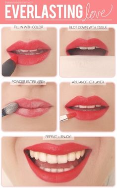 A great tip for lasting lip color: after putting on lipstick and blotting with tissue, apply powder to your lips and then another coat of lipstick.  Love it!  Red never stays on me! - Click image to find more Hair & Beauty Pinterest pins