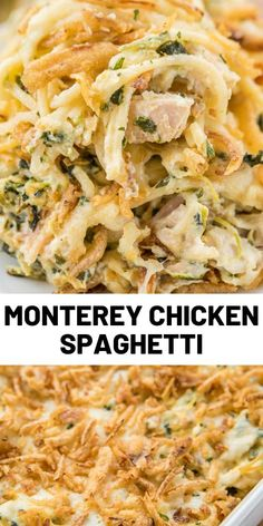 This Monterey Chicken Spaghetti is THE BEST! Chicken spaghetti loaded with spinach, Monterey Jack cheese and french fried onions. Pasta Dishes, Food Dishes, Main Dishes, Casserole Dishes, Casserole Recipes, Yummy Chicken Recipes, Turkey Recipes, Pasta Recipes, Chicken Spaghetti Casserole