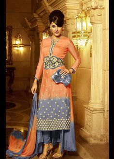 Orange Beautifully Embroidered Designer Salwar Suit #SalwarSuits #snapdeal #India